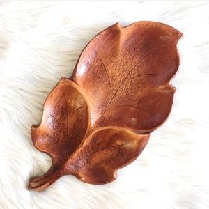 Vintage | Hand Carved Wooden Leaf Tray Fall Decor